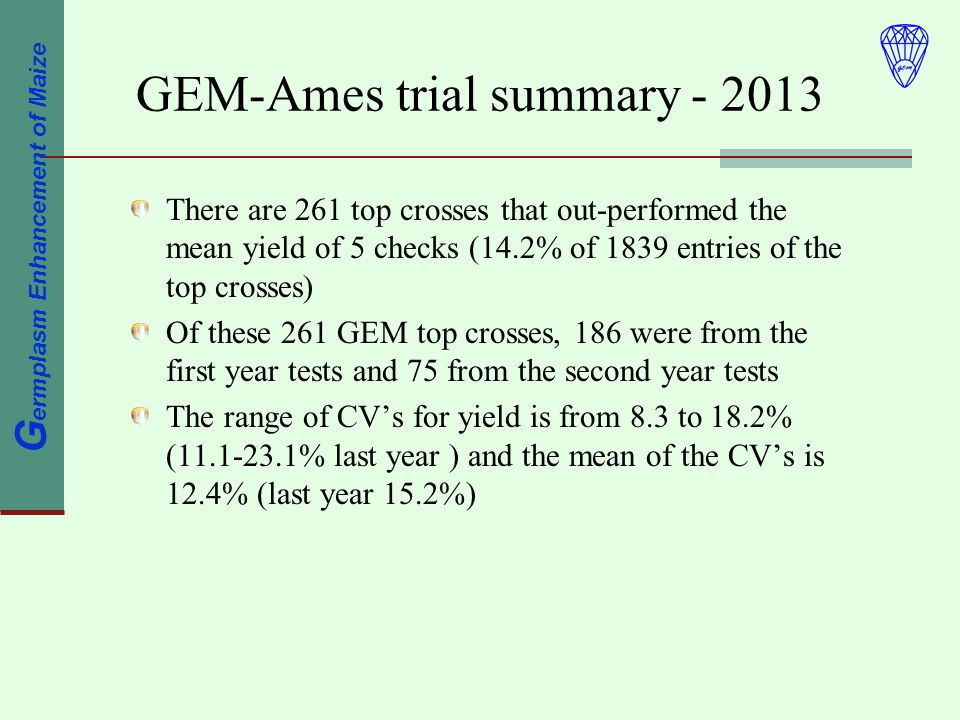 G ermplasm Enhancement of Maize GEM-Ames trial summary There are 261 top crosses that out-performed the mean yield of 5 checks (14.2% of 1839 entries of the top crosses) Of these 261 GEM top crosses, 186 were from the first year tests and 75 from the second year tests The range of CVs for yield is from 8.3 to 18.2% ( % last year ) and the mean of the CVs is 12.4% (last year 15.2%)
