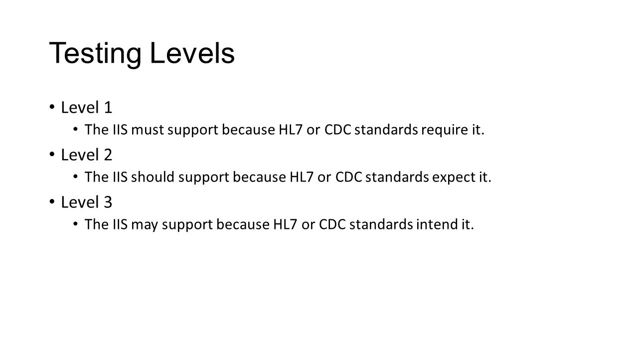 Standards Being Used CDC Implementation Guide, release 1.4 HL7 v2.5.1 Standard Core fields for IIS in 2007 Core fields for IIS for 2014-2017 MIROW 2008: Data Quality Assurance in IIS: Incoming Data Input from DQA work groups