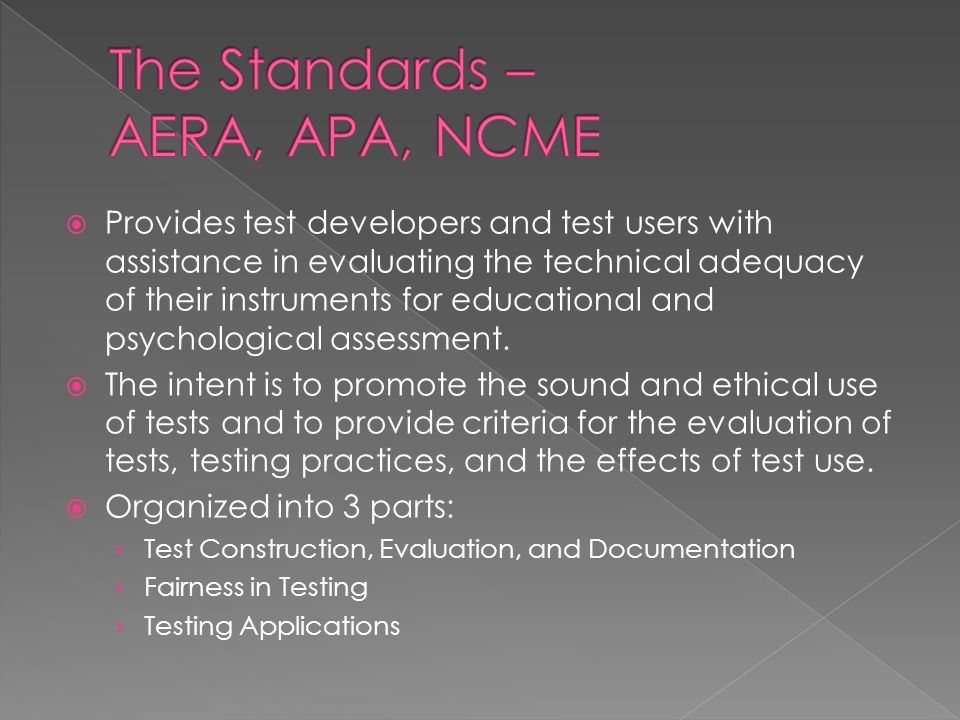 Provides test developers and test users with assistance in evaluating the technical adequacy of their instruments for educational and psychological as