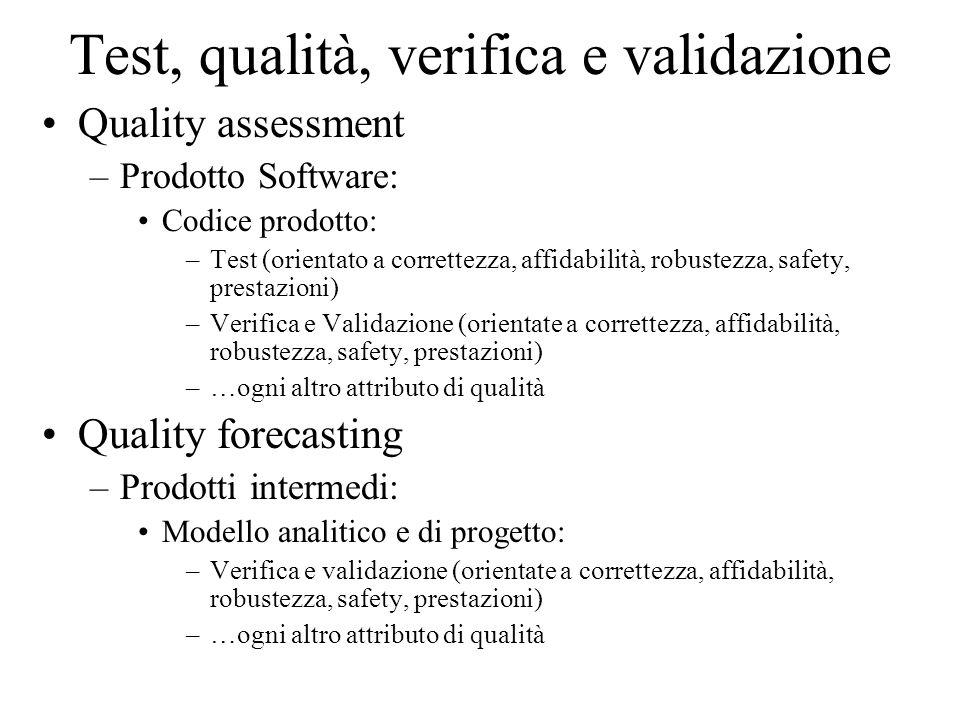 Test, qualità, verifica e validazione Quality assessment –Prodotto Software: Codice prodotto: –Test (orientato a correttezza, affidabilità, robustezza, safety, prestazioni) –Verifica e Validazione (orientate a correttezza, affidabilità, robustezza, safety, prestazioni) –…ogni altro attributo di qualità Quality forecasting –Prodotti intermedi: Modello analitico e di progetto: –Verifica e validazione (orientate a correttezza, affidabilità, robustezza, safety, prestazioni) –…ogni altro attributo di qualità
