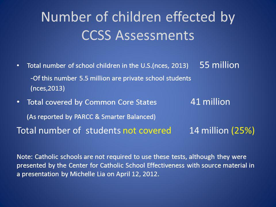 Number of children effected by CCSS Assessments Total number of school children in the U.S.(nces, 2013) 55 million - Of this number 5.5 million are private school students (nces,2013) Total covered by Common Core States 41 million (As reported by PARCC & Smarter Balanced) Total number of students not covered 14 million (25%) Note: Catholic schools are not required to use these tests, although they were presented by the Center for Catholic School Effectiveness with source material in a presentation by Michelle Lia on April 12, 2012.