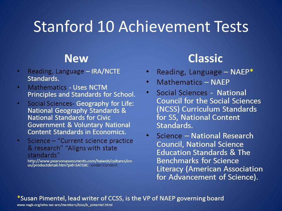 Stanford 10 Achievement Tests New Reading, Language – IRA/NCTE Standards.