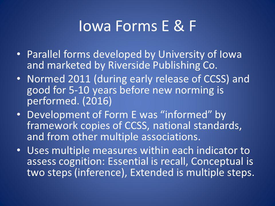Iowa Forms E & F Parallel forms developed by University of Iowa and marketed by Riverside Publishing Co.
