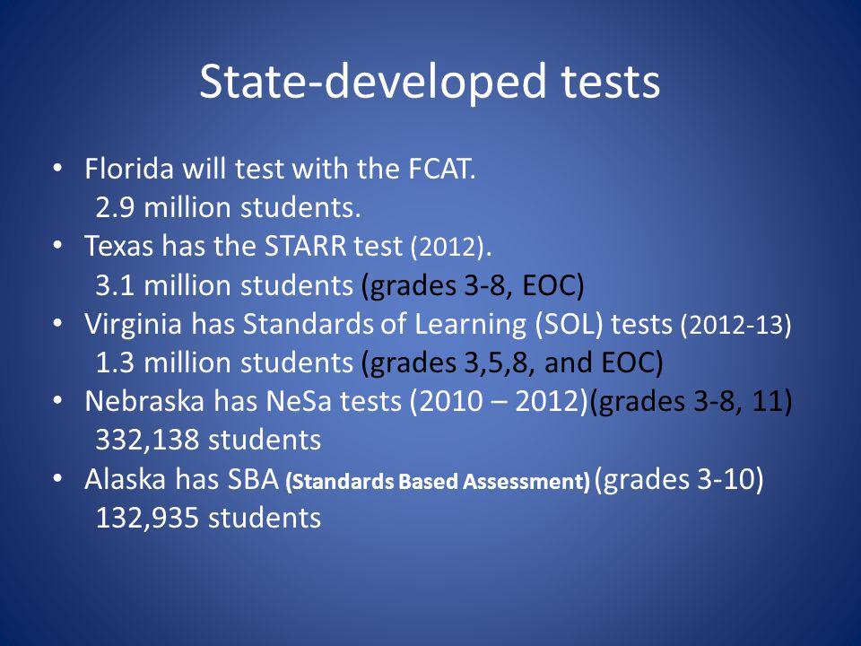 State-developed tests Florida will test with the FCAT.