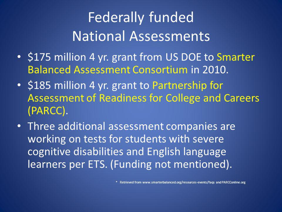 Federally funded National Assessments $175 million 4 yr.