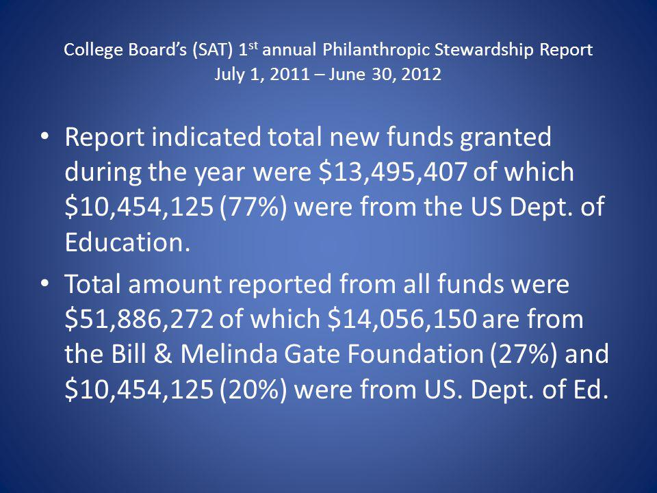 College Boards (SAT) 1 st annual Philanthropic Stewardship Report July 1, 2011 – June 30, 2012 Report indicated total new funds granted during the year were $13,495,407 of which $10,454,125 (77%) were from the US Dept.