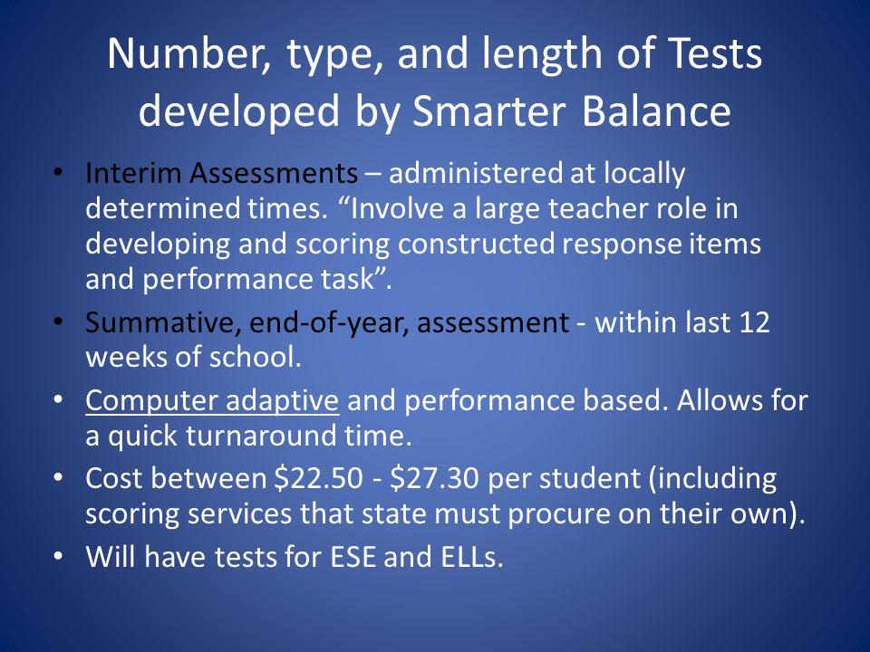 Number, type, and length of Tests developed by Smarter Balance Interim Assessments – administered at locally determined times.