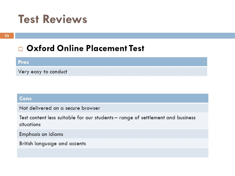 Test Reviews 33 Oxford Online Placement Test Pros Very easy to conduct Cons Not delivered on a secure browser Test content less suitable for our students – range of settlement and business situations Emphasis on idioms British language and accents