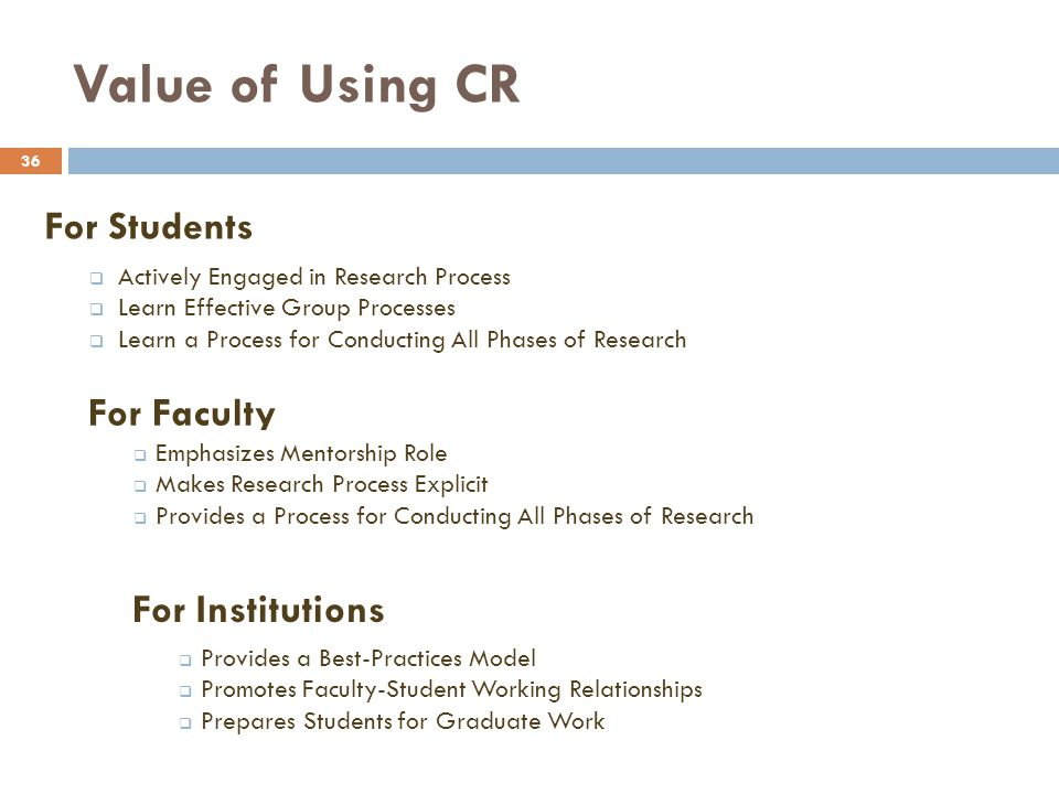 Value of Using CR 36 For Students Actively Engaged in Research Process Learn Effective Group Processes Learn a Process for Conducting All Phases of Re