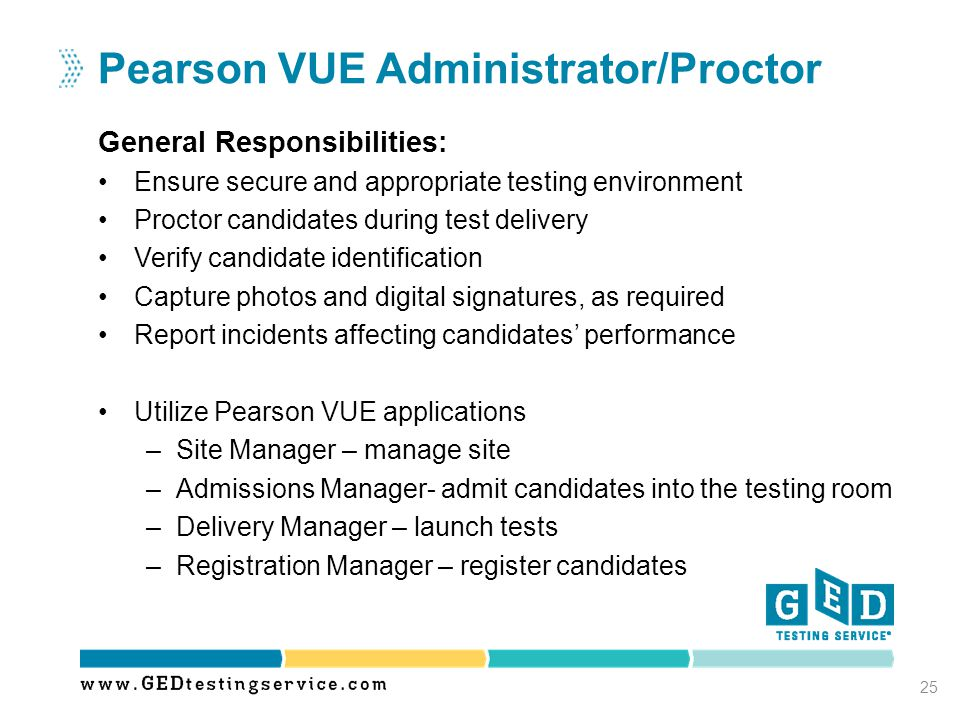 General Responsibilities: Ensure secure and appropriate testing environment Proctor candidates during test delivery Verify candidate identification Ca
