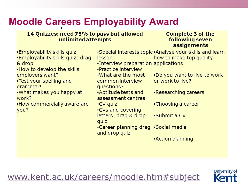 Moodle Careers Employability Award www.kent.ac.uk/careers/moodle.htm#subject 14 Quizzes: need 75% to pass but allowed unlimited attempts Complete 3 of the following seven assignments Employability skills quiz Employability skills quiz: drag & drop How to develop the skills employers want.