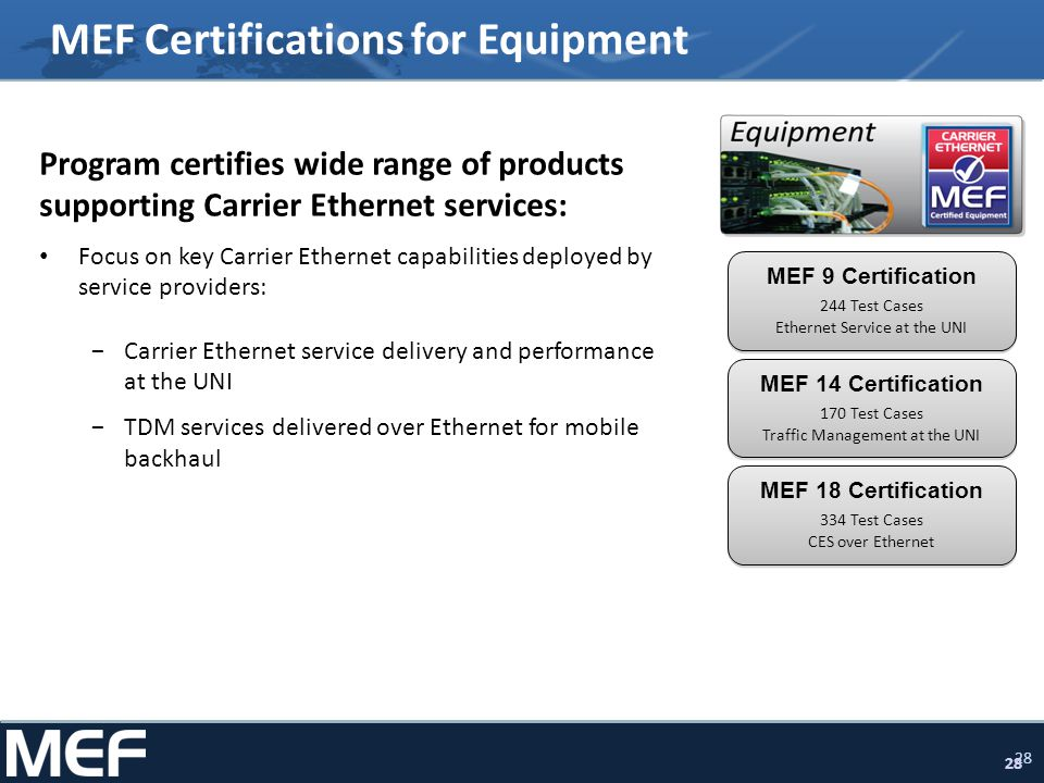 28 MEF Certifications for Equipment Program certifies wide range of products supporting Carrier Ethernet services: Focus on key Carrier Ethernet capabilities deployed by service providers: Carrier Ethernet service delivery and performance at the UNI TDM services delivered over Ethernet for mobile backhaul MEF 9 Certification 244 Test Cases Ethernet Service at the UNI MEF 14 Certification 170 Test Cases Traffic Management at the UNI MEF 18 Certification 334 Test Cases CES over Ethernet
