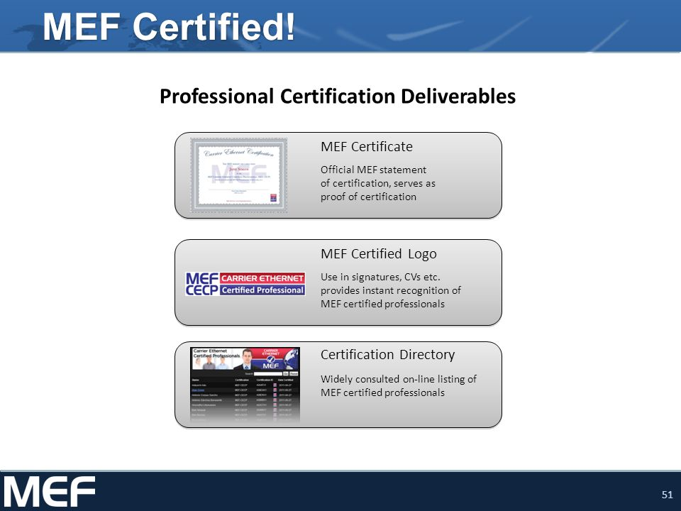 51 MEF Certified! Official MEF statement of certification, serves as proof of certification Widely consulted on-line listing of MEF certified professi