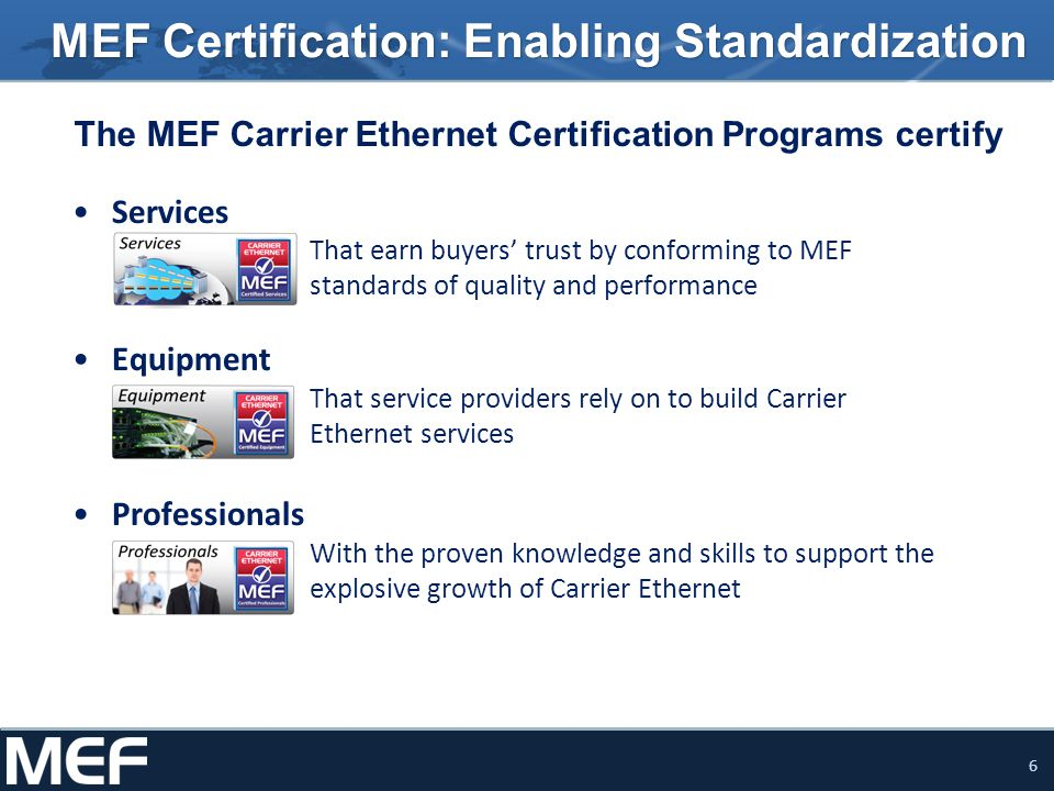 6 MEF Certification: Enabling Standardization The MEF Carrier Ethernet Certification Programs certify Services That earn buyers trust by conforming to