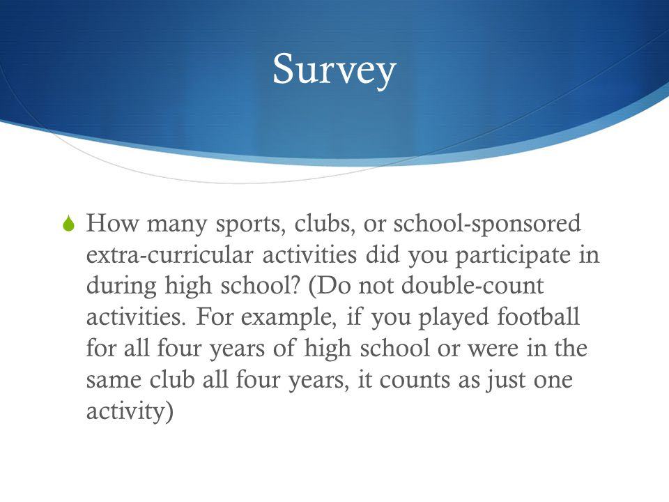 Survey How many sports, clubs, or school-sponsored extra-curricular activities did you participate in during high school.