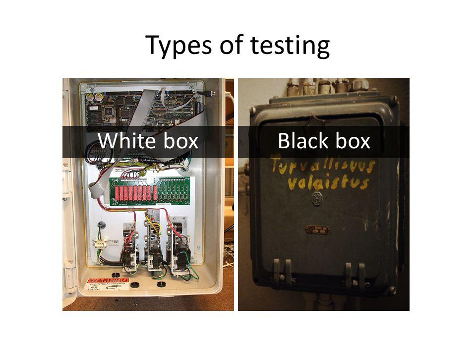 Types of testing White boxBlack box