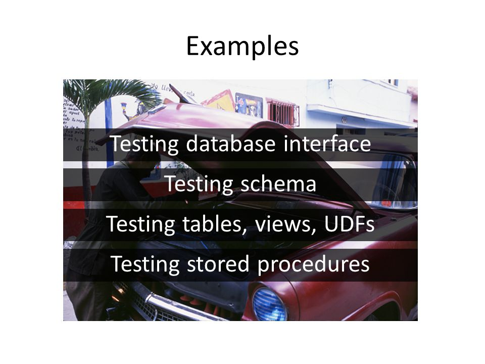 Testing database interface Testing schema Testing tables, views, UDFs Testing stored procedures