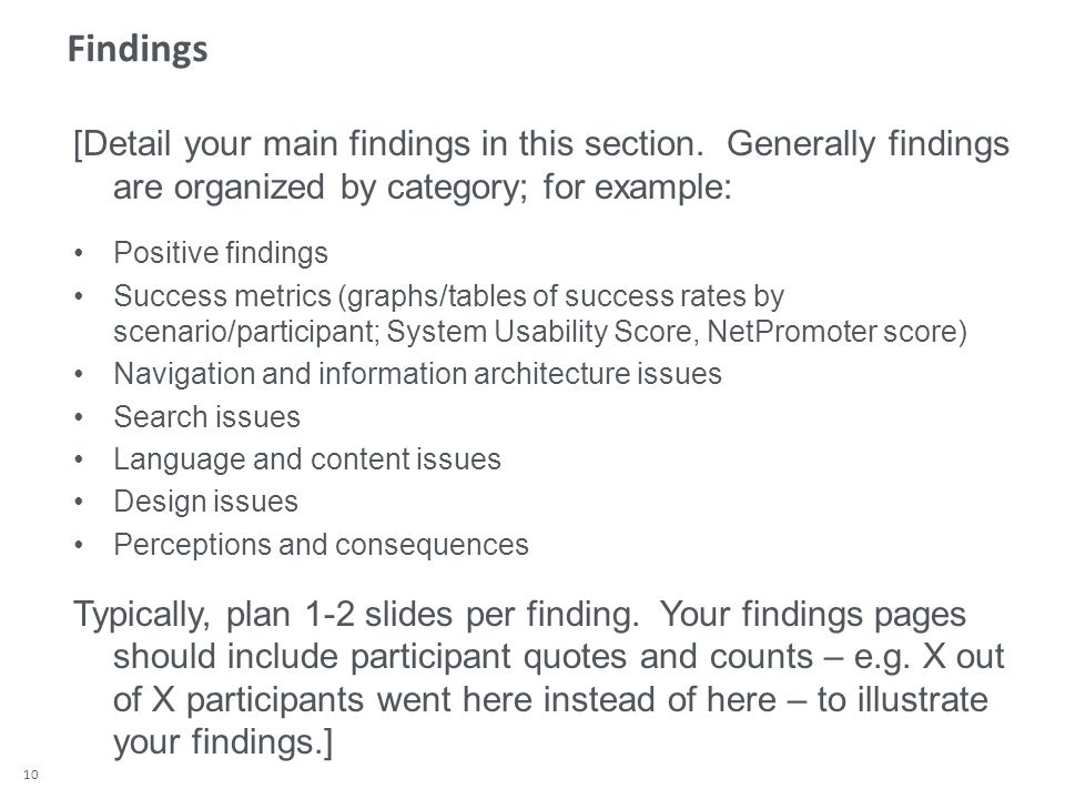 10 Findings [Detail your main findings in this section.