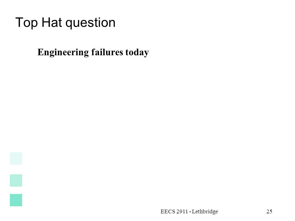Top Hat question Engineering failures today EECS 2911 - Lethbridge25