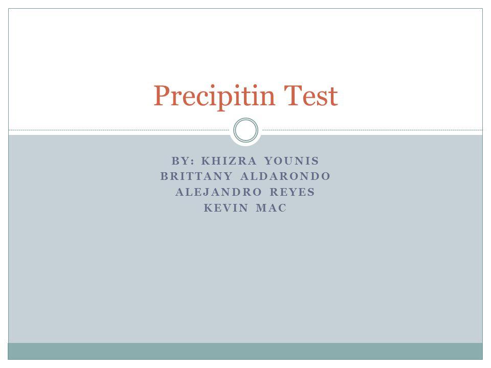 BY: KHIZRA YOUNIS BRITTANY ALDARONDO ALEJANDRO REYES KEVIN MAC Precipitin Test