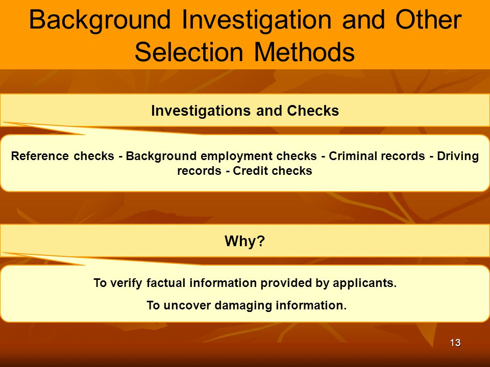 13 Background Investigation and Other Selection Methods Investigations and Checks Reference checks - Background employment checks - Criminal records -