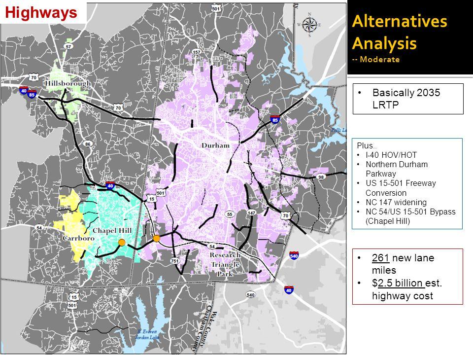 Alternatives Analysis -- Moderate Basically 2035 LRTP Plus..