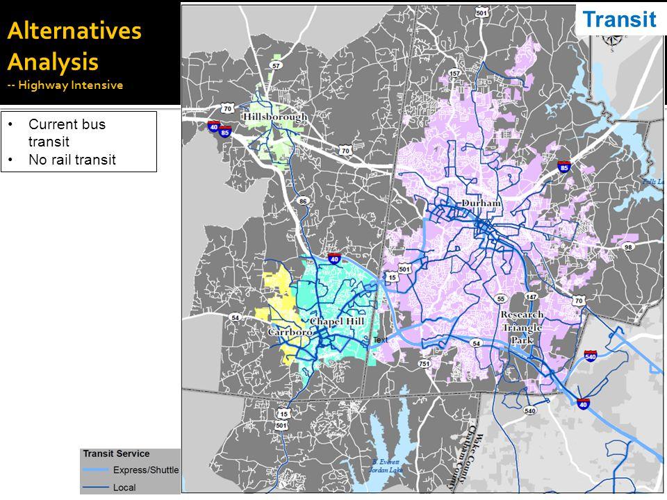Alternatives Analysis -- Highway Intensive Current bus transit No rail transit Transit
