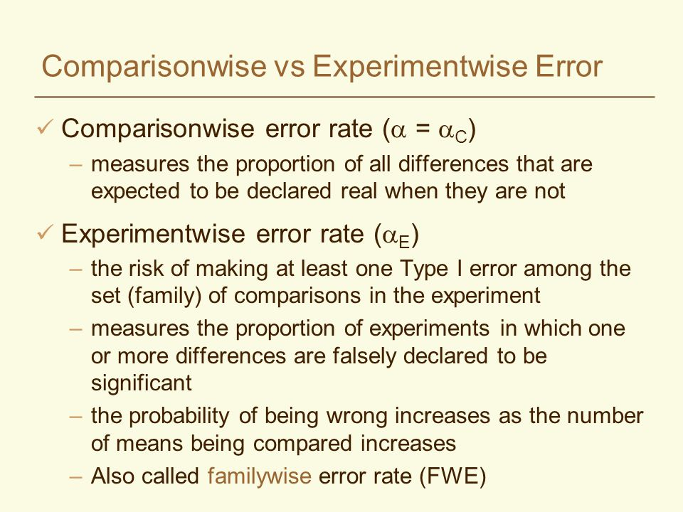 Comparisonwise vs Experimentwise Error Comparisonwise error rate ( = C ) –measures the proportion of all differences that are expected to be declared real when they are not Experimentwise error rate ( E ) –the risk of making at least one Type I error among the set (family) of comparisons in the experiment –measures the proportion of experiments in which one or more differences are falsely declared to be significant –the probability of being wrong increases as the number of means being compared increases –Also called familywise error rate (FWE)