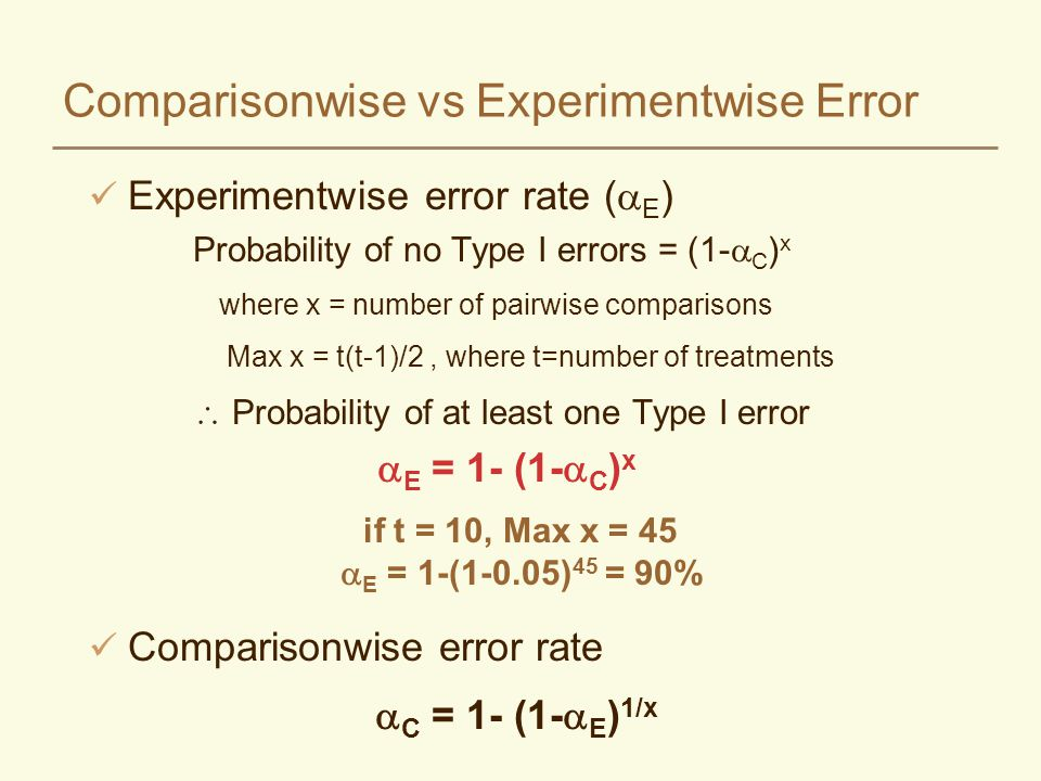Experimentwise error rate ( E ) Probability of no Type I errors = (1- C ) x where x = number of pairwise comparisons Max x = t(t-1)/2, where t=number