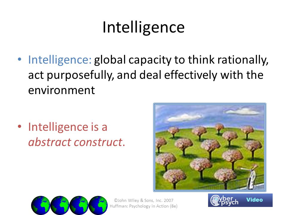 ©John Wiley & Sons, Inc. 2007 Huffman: Psychology in Action (8e) Intelligence Intelligence: global capacity to think rationally, act purposefully, and