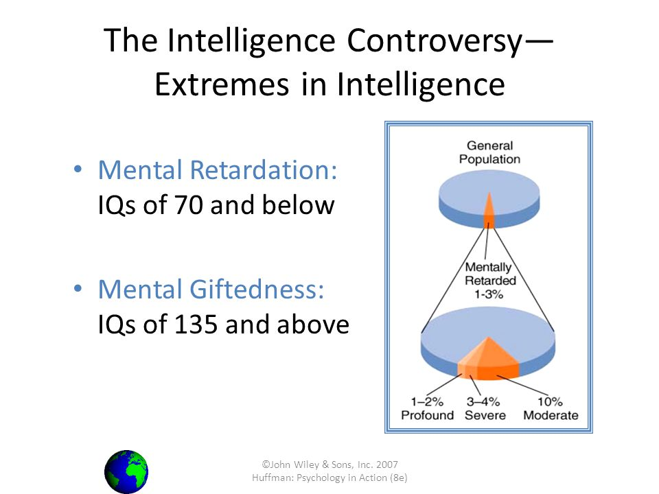 ©John Wiley & Sons, Inc. 2007 Huffman: Psychology in Action (8e) The Intelligence Controversy Extremes in Intelligence Mental Retardation: IQs of 70 a