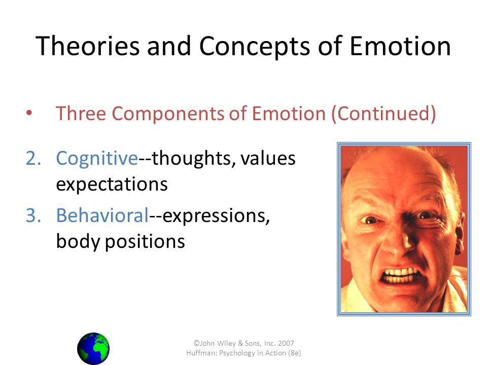 ©John Wiley & Sons, Inc. 2007 Huffman: Psychology in Action (8e) Three Components of Emotion (Continued) 2.Cognitive--thoughts, values and expectation