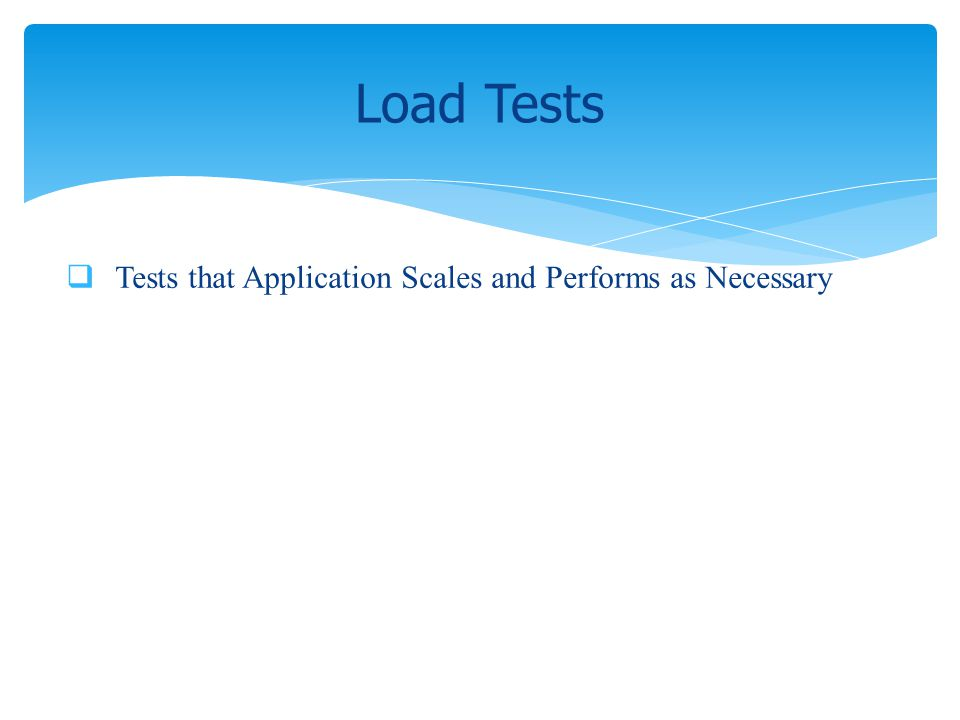 Tests that Application Scales and Performs as Necessary Load Tests