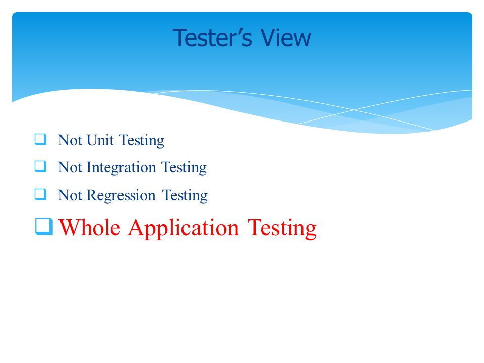 Not Unit Testing Not Integration Testing Not Regression Testing Whole Application Testing Testers View