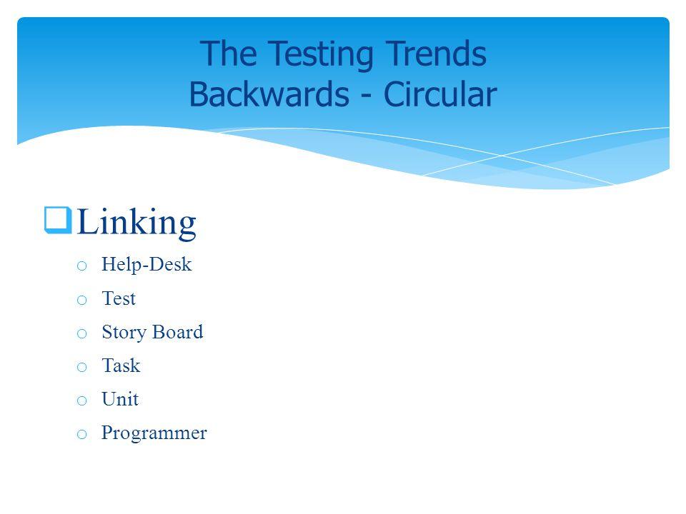 Linking o Help-Desk o Test o Story Board o Task o Unit o Programmer The Testing Trends Backwards - Circular