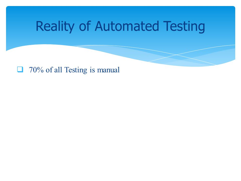 70% of all Testing is manual Reality of Automated Testing