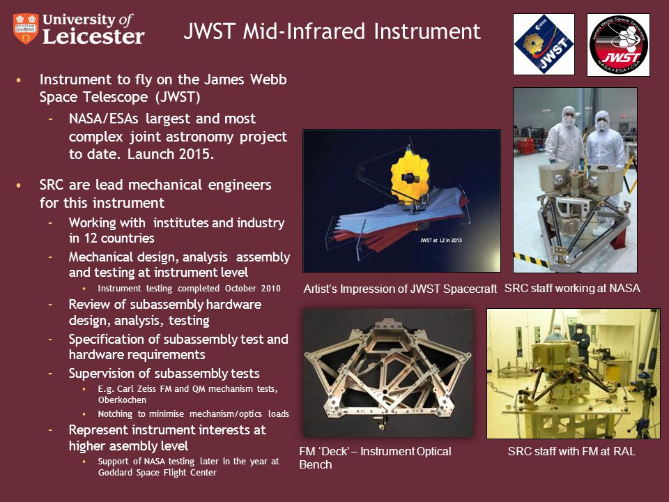 JWST Mid-Infrared Instrument Instrument to fly on the James Webb Space Telescope (JWST) –NASA/ESAs largest and most complex joint astronomy project to date.