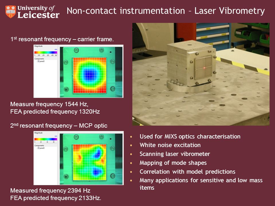Non-contact instrumentation – Laser Vibrometry 1 st resonant frequency – carrier frame. Measure frequency 1544 Hz, FEA predicted frequency 1320Hz 2 nd