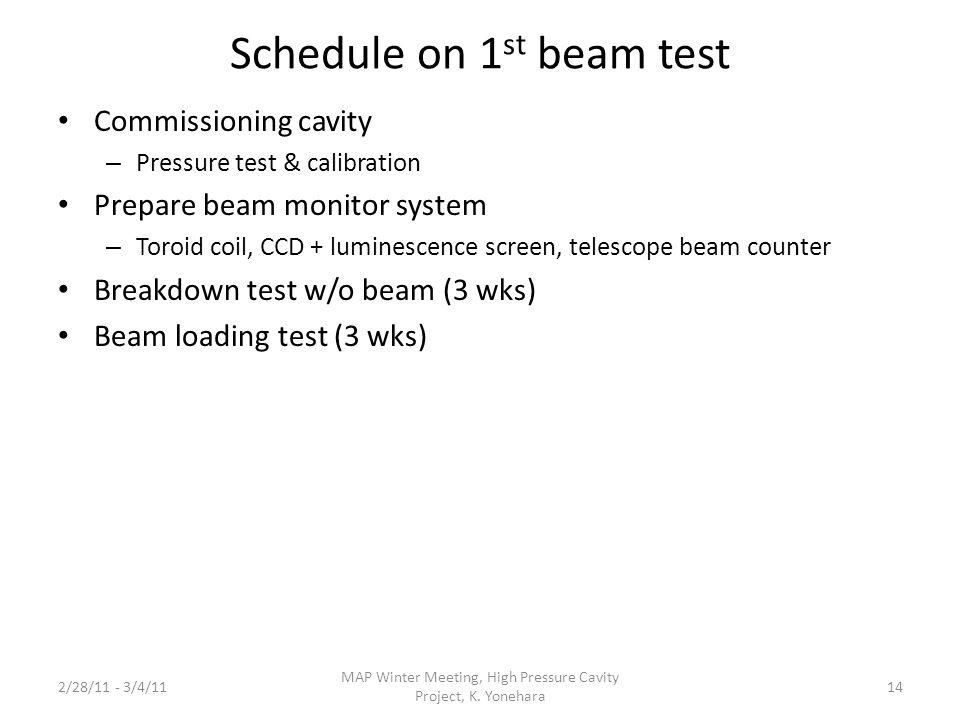 Schedule on 1 st beam test Commissioning cavity – Pressure test & calibration Prepare beam monitor system – Toroid coil, CCD + luminescence screen, te