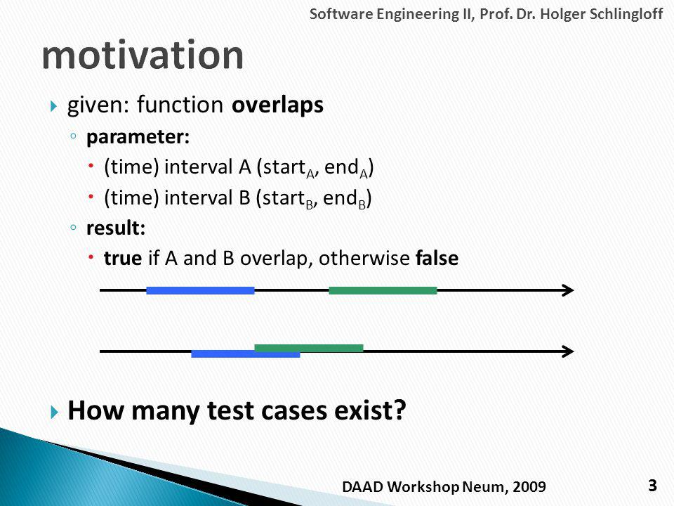 given: function overlaps parameter: (time) interval A (start A, end A ) (time) interval B (start B, end B ) result: true if A and B overlap, otherwise false How many test cases exist.