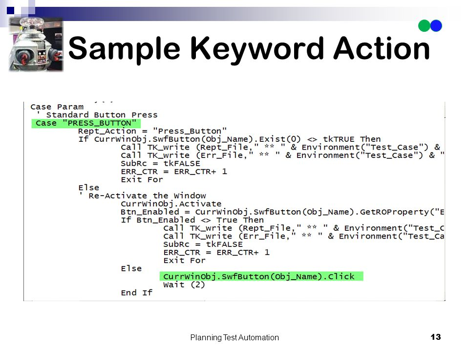 13 Sample Keyword Action Planning Test Automation 13