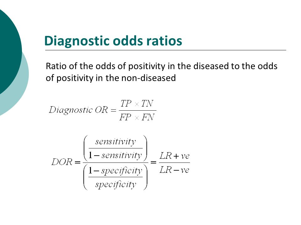 Diagnostic odds ratios Ratio of the odds of positivity in the diseased to the odds of positivity in the non-diseased
