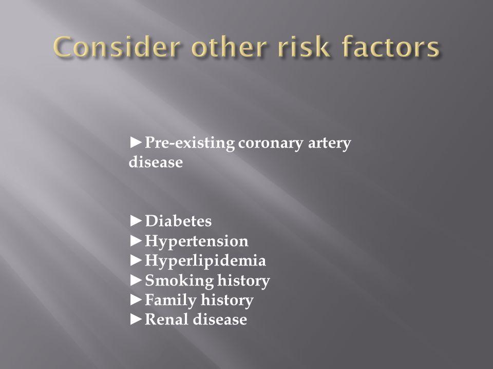 Pre-existing coronary artery disease Diabetes Hypertension Hyperlipidemia Smoking history Family history Renal disease