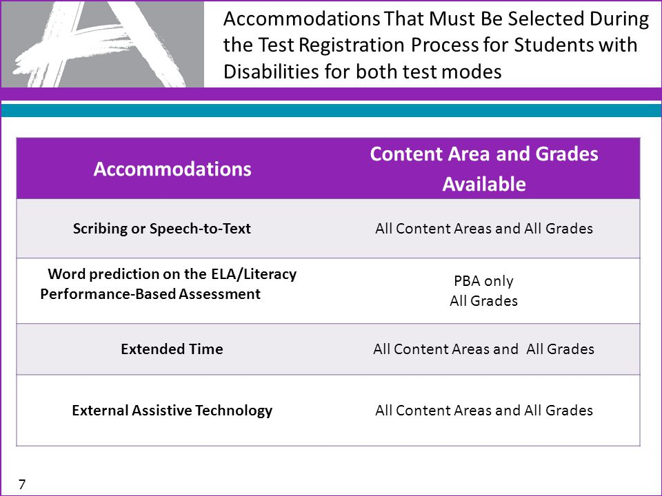 Accommodations That Must Be Selected During the Test Registration Process for Students with Disabilities 8 Accommodations Content Area and Grades Available Calculation Device and Mathematics Tools (on Non-calculator Sessions of Mathematics Assessments) Mathematics Only Paper and Pencil Edition *if a school has been identified as a computer-based school; a student with disability may have a paper and pencil if a need has been identified All Content Areas and Grades