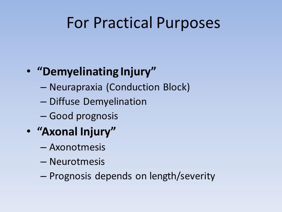 For Practical Purposes Demyelinating Injury – Neurapraxia (Conduction Block) – Diffuse Demyelination – Good prognosis Axonal Injury – Axonotmesis – Ne