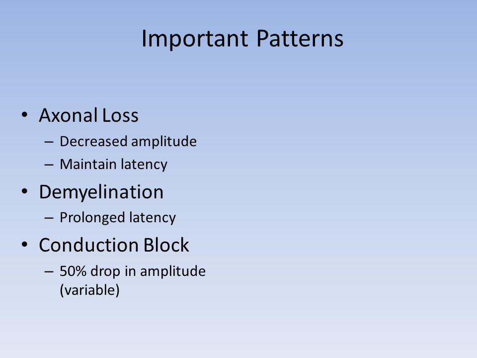 Important Patterns Axonal Loss – Decreased amplitude – Maintain latency Demyelination – Prolonged latency Conduction Block – 50% drop in amplitude (va