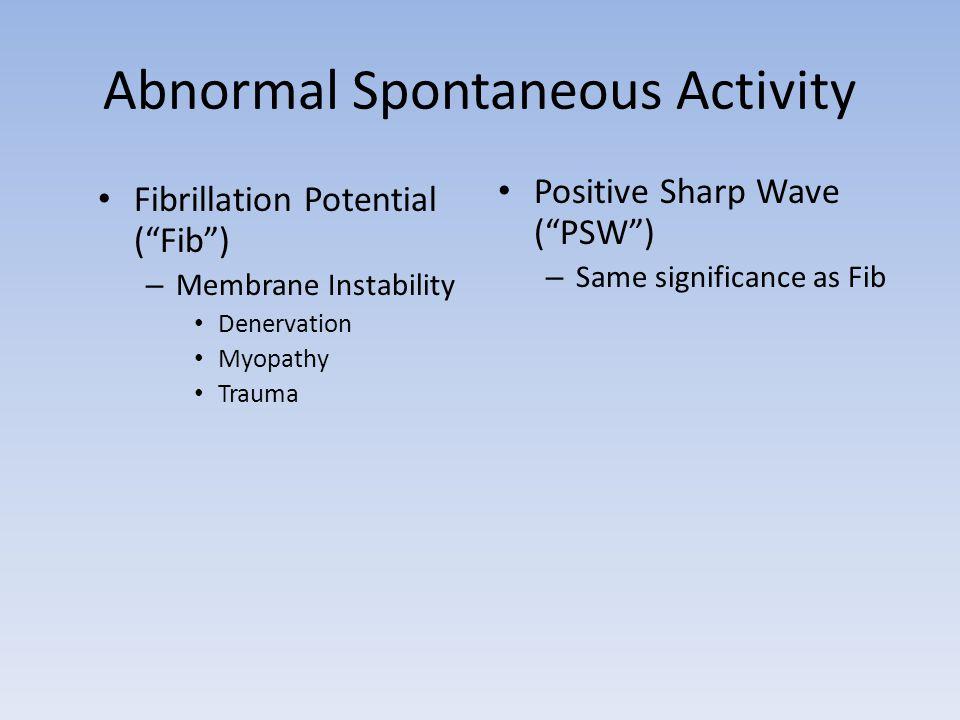 Abnormal Spontaneous Activity Fibrillation Potential (Fib) – Membrane Instability Denervation Myopathy Trauma Positive Sharp Wave (PSW) – Same signifi