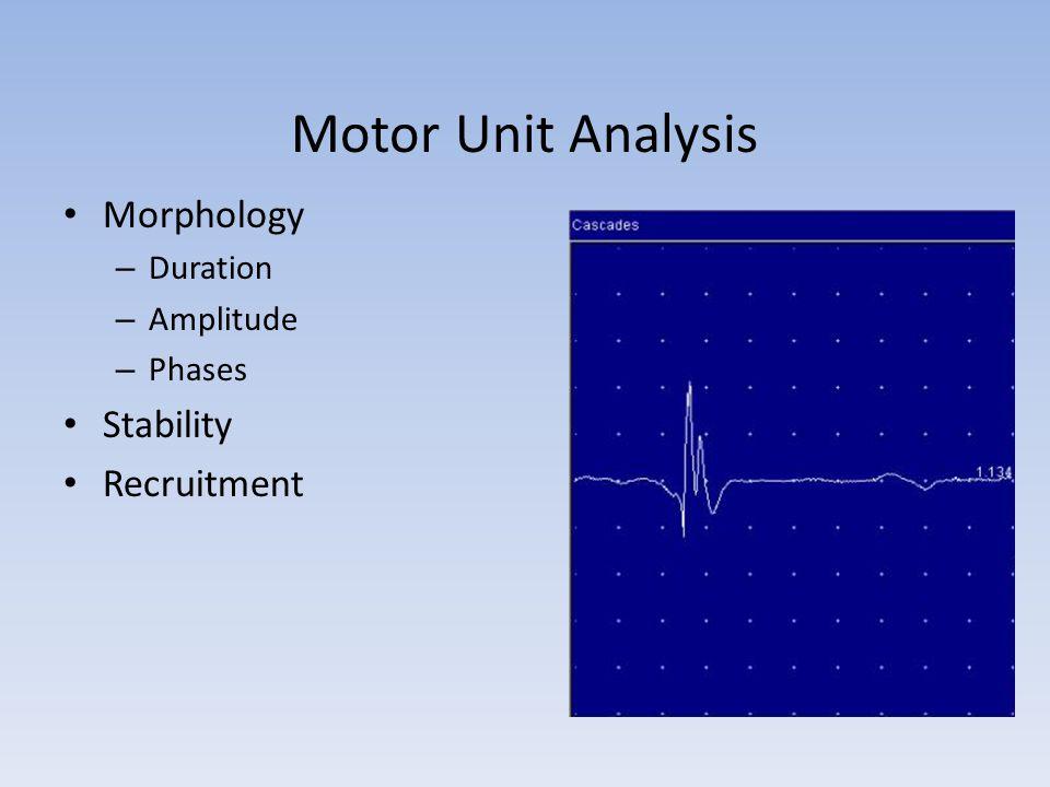 Motor Unit Analysis Morphology – Duration – Amplitude – Phases Stability Recruitment