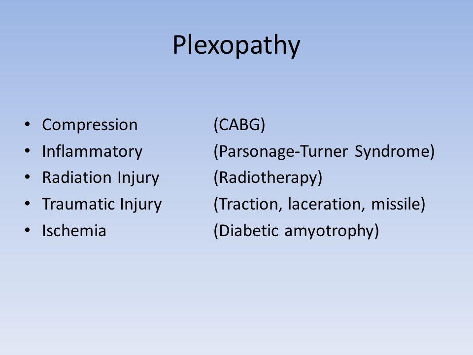Plexopathy Compression (CABG) Inflammatory(Parsonage-Turner Syndrome) Radiation Injury (Radiotherapy) Traumatic Injury (Traction, laceration, missile)