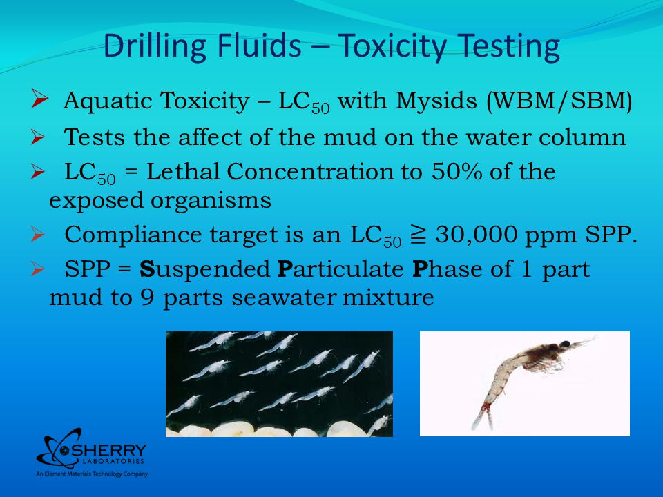 Drilling Fluids – Toxicity Testing Aquatic Toxicity – LC 50 with Mysids (WBM/SBM) Tests the affect of the mud on the water column LC 50 = Lethal Concentration to 50% of the exposed organisms Compliance target is an LC 50 30,000 ppm SPP.